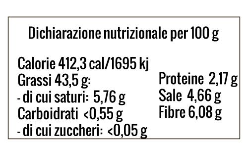 TABELLA NUTRIZIONALE OLIVE TAGGIASCHE DENOCCIOLATE