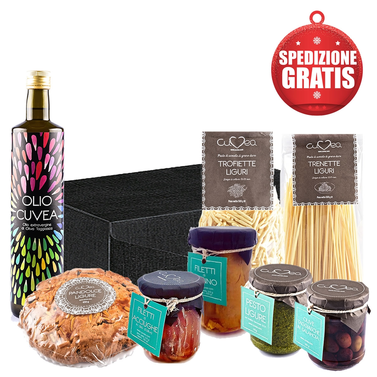 Cesto regalo prodotti tipici liguri e acciughe