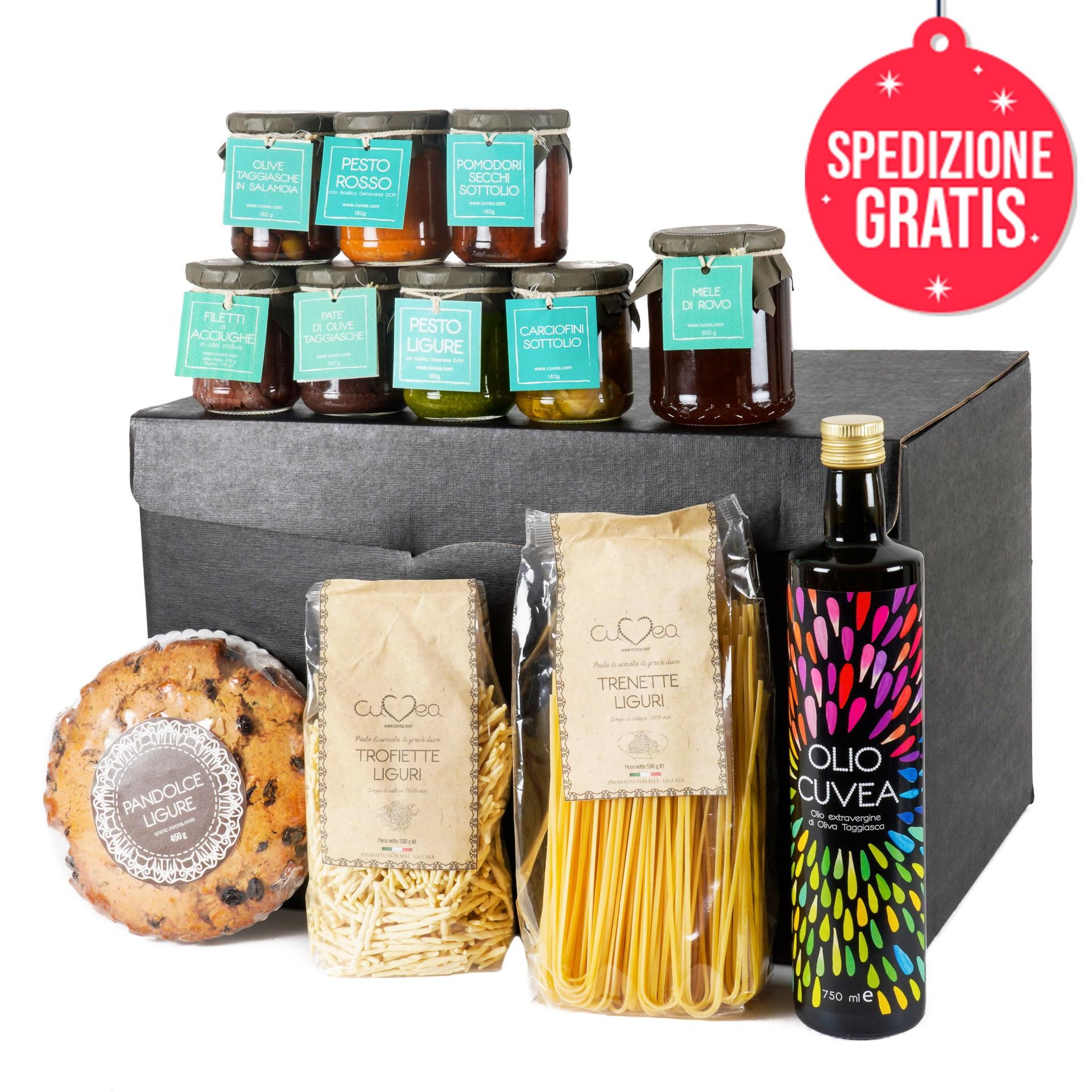 Confezione Gourmet prodotti tipici liguri con Miele di Rovo